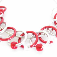 Small Stitch markers | Snagless stitch marker | Seam free stitch markers | Knitting tool | red, silver rings & beads | #0320