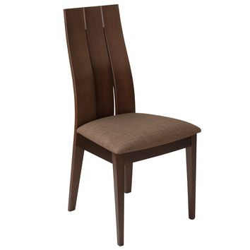 Hadley Wood Dining Chair with Wide Slat Back and Fabric Seat