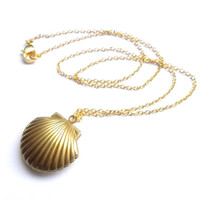 Sea Shell Locket, Mermaid Necklace, Beach Locket, Gold Tone Raw Brass, Little Shell Locket, Nautical Jewelry, Gift Wrap