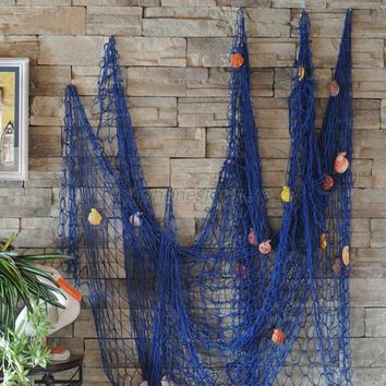 Nautical Fishing Net Seaside Wall Beach Party Sea Shells Garden Decor with conch