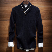 Men's Comfortable V Neck Solid Soft Pullover Sweater