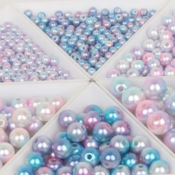 4/6/8/10mm Multicolor Plastic ABS Imitation Pearl Beads Round Loose Beads DIY Necklace&Bracelet Jewelry Craft Accessories Making
