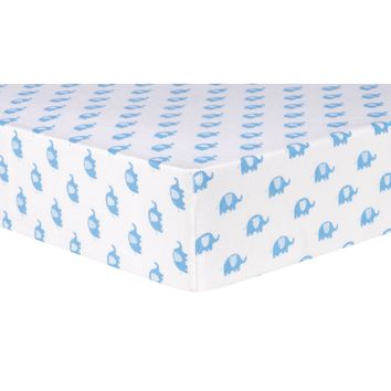 Blue Elephants Deluxe Flannel Fitted Crib Sheet