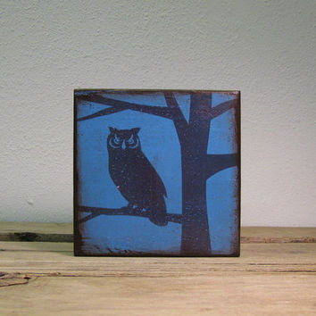 Owl in Tree Silhouette Wood Block Wall Hanging--MatchBlox Mix and Match Art --1719