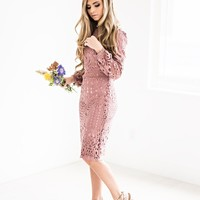 Julia Lace Shift Dress in Mauve - JessaKae