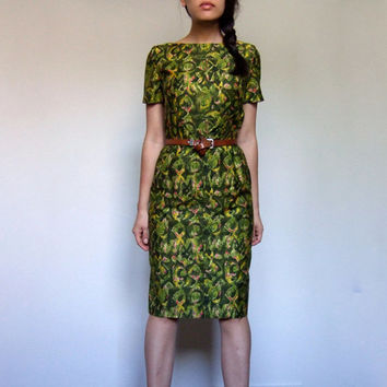 1960s Dress Vintage Classy Green Short Sleeve 60s Pencil Fitted Summer Office Dress - Small S