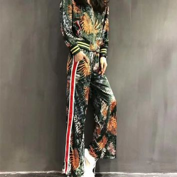 """Gucci"" Women Fashion Stripe Multicolor Pineapple Print Hooded Long Sleeve Cardigan Trousers Set Two-Piece Sportswear"