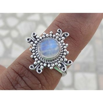 Womens Rainbow Moonstone ring - Setting is .925 Sterling Silver