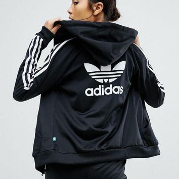 DCCKBA7 adidas Originals Slim Full Zip Hoodie In Black