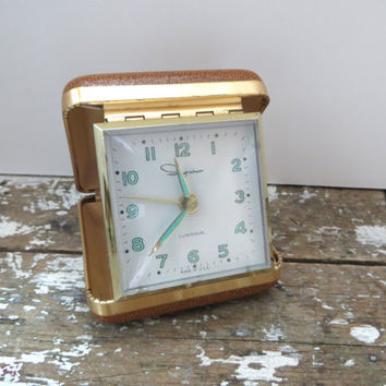 Vintage Ingraham Travel Clock Portable Alarm Clock