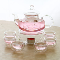 1 ECO-friendly Heat Reistant Glass Teapot 600ml + 1 Warmer Base + 5 Double Tea Cups 8pcs/ Set Coffee&Tea Set