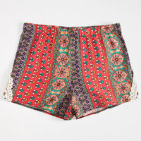 Full Tilt Crochet Side Mixed Print Girls Shorts Red Combo  In Sizes