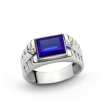 925 K Sterling Silver Men's Ring with 3.25 ct Sapphire and 0.02 ct Diamonds