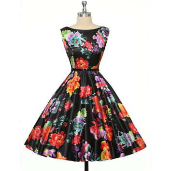 50s Vintage dresses 2016 Sexy Women floral printing 60s Housewife Retro Pinup rockabilly dress with belt elegant O neck