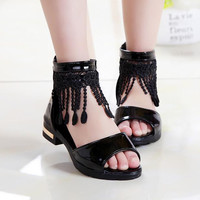 Newest 2016 Summer Female Children Sandals Baby Girls Lace Tassel sandals Korean Fashion Princess Shoes Kids Student Shoes