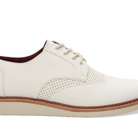 TOMS Off White Leather Men's Brogues White