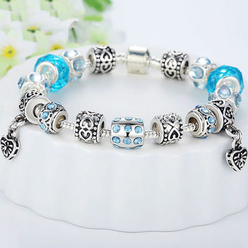 Silver Crystal Bracelet With Blue Murano Glass Beads