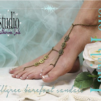 LAVISH LOVE Barefoot sandals beach weddings Bronze filigree destination bridesmaids footless sandles foot jewelry Catherine Cole Studio BF15