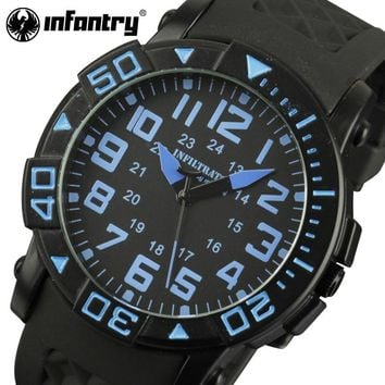 INFANTRY Mens Watches Military Sports Watches Rubber Strap Aviator Marine Corps Quartz Wristwatches Male Clock Relogio Masculino