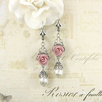 Powder Pink and White Victorian Rose Earrings - Swarovski Pearl Resin Rose Earrings - Shabby Chic Jewelry - Pink Shabby Chic Wedding