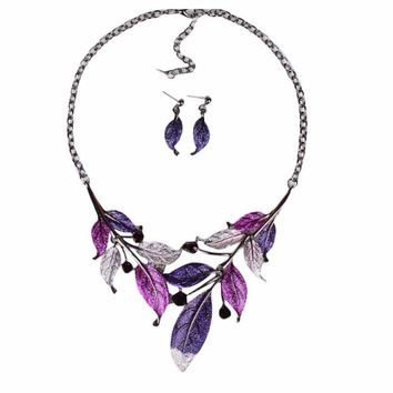 Peacock tail Jewelry Set Women Crystal Enamel Flower Pendant Necklace Earrings