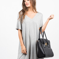 Basic V-Neck Ribbed Tee Dress