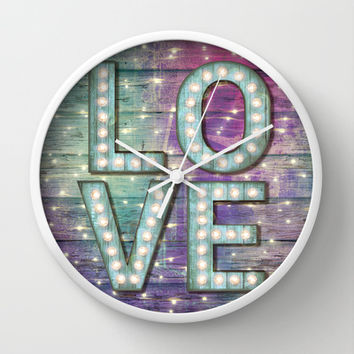Love is the Light of Your Soul (LOVE lights III) Wall Clock by soaring anchor designs ⚓ | Society6