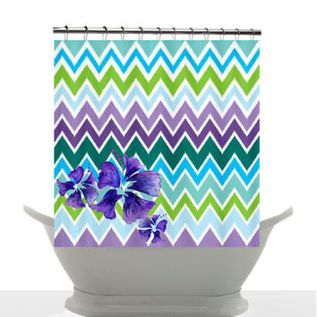 Artistic Shower Curtain - Breezy Surf Day with Hibiscus , unique, chevron, blue, teal, colorful, decor, home