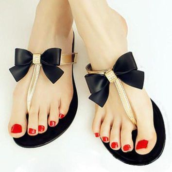 ONETOW TEXU Bow Thong 2016 Women Shoes Jelly Jelly Flip Flop Sandals Women Ladies Flat Shoes