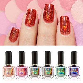 BORN PRETTY Holographic Nail Polish 6ml Black Red Laser Glitter Nail Varnish Colorful Holographic Nail Polish Nail Lacquer