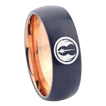 8mm Star Wars Jedi Dome Tungsten Carbide Rose Gold Mens Ring Engraved
