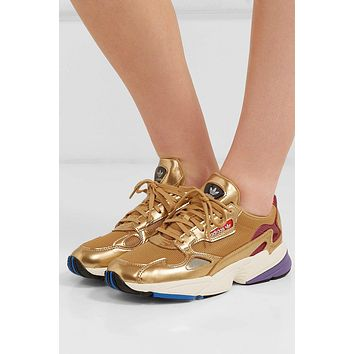 Adidas Originals Falcon Metallic Mesh And Faux Leather Sneakers #75