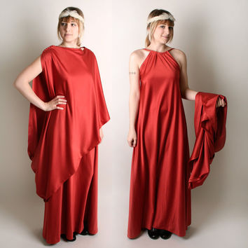 Roman Toga Dress Rust Brown Vintage 2 Piece Cassiopeia by zwzzy