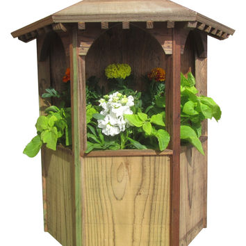 SamsGazebos Wall Mount English Garden Style Gazebo Planter, Treated, Made in USA