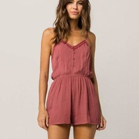 SKY AND SPARROW Embroidered Button Front Womens Romper