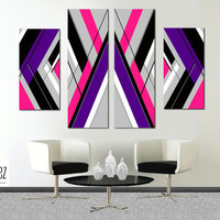 "Made to order- 57x36"" Original abstract painting. Large painting. Girly painting with pink, purple. 4 piece canvas art. Modern wall art."