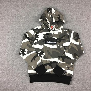 HCXX 2017/SS Supreme Snow Red Camo Box Logo Hoodie Snow camouflage coat S-XL DM305