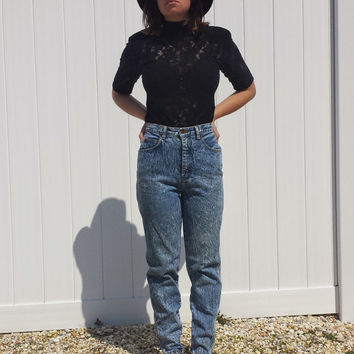 80s Vintage Blue Denim Jean by STEFANO High Waisted Womans Jeans - Small