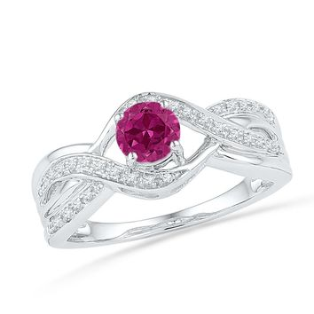 Sterling Silver Womens Round Lab-Created Pink Sapphire Solitaire Diamond Ring 1/10 Cttw 101226