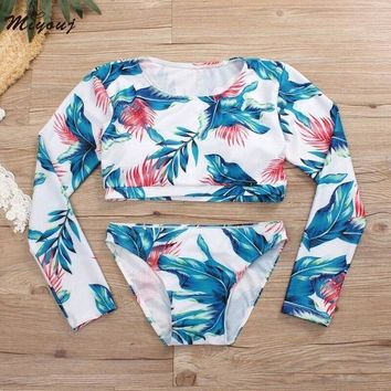 2 Two Piece Bikini Miyouj Long Sleeve Swimsuit Women Two Piece Swimsuit 2018 Bathing Suit Swim Wear For Women Surfing Beachwear Rash Guard Women KO_21_2