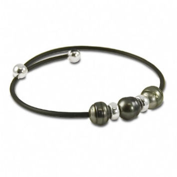 "7.5"" 8-9mm Sterling silver Tahitian cultured pearl with black rubber bracelet."