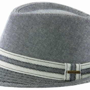 Stetson Men's Linen Blend Fedora Hat,Black,L