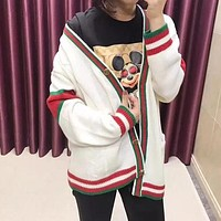 """Gucci"" Unisex Fashion Multicolor Stripe Couple Long Sleeve V-Neck Knit Cardigan Sweater Coat"