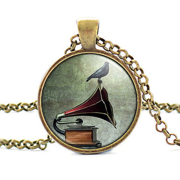 (3 pieces/lot) Vintage Vinyl Record Gramophone Necklaces & Pendants Gramophone and Bird Gift Fashion Necklaces for Women