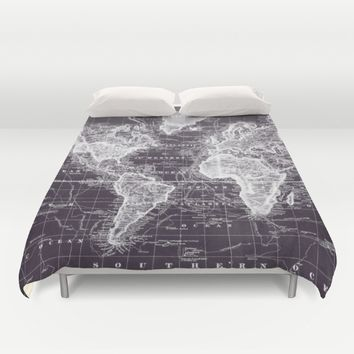 Vintage Map of The World (1833) Purple & White  Duvet Cover by BravuraMedia