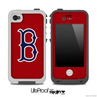 Navy Blue and Red with Boston Red Sox Logo 3 Skin for the iPhone 4/4s or 5 LifeProof Case
