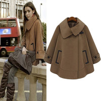 Turn-down Collar Plus Size Woolen Casual Cape Coat