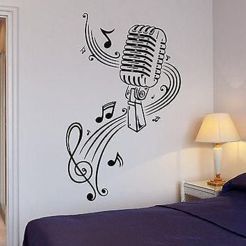 Wall Stickers Vinyl Decal Music Sheet Microphone Great Decor Karaoke Unique Gift (ig377)