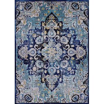 2212 Blue-Yellow Medallion Distressed Oriental Area Rugs