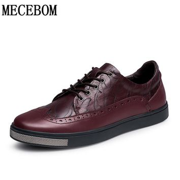 Men's Brogue shoes quality genuine leather shoes lace-up casual shoes for male chaussure homme size 38-44 2110m